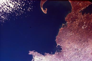 The distinctive curve of Cape Cod, Massachusetts and the greater Boston urban area are very clear of the northeastern coast of the United States in this image from NASA's EarthKAM.