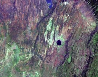 This image acquired by NASA's Terra satellite on December 18, 2002 shows the East African rift -- places where the earth's crust has formed deep fissures and the plates have begun to move apart.