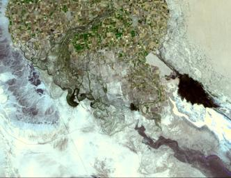 The Colorado River ends its 2330 km journey in the Gulf of Mexico in Baja California. NASA's Terra spacecraft acquired this image on May 29, 2006.