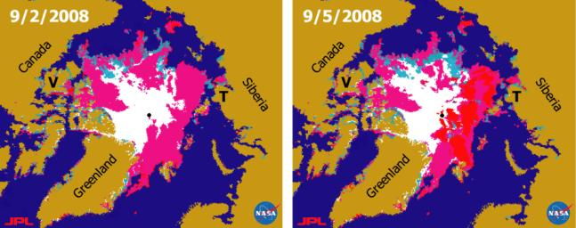 This pair of sea ice maps was derived from radar data from NASA's QuikScat satellite scatterometer during September, 2008 showing the Arctic Sea along the Northern Sea Route and the Northwest Passage.