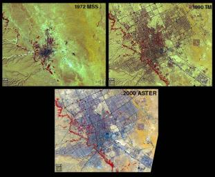 Riyadh, the national capital of Saudi Arabia, is shown in 1972, 1990 and 2000 by NASA's Terra spacecraft.
