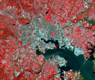 Baltimore is the largest city in Maryland and one of the busiest ports in the United States. This image was acquired by NASA's Terra satellite on April 4, 2000.