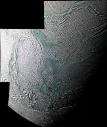 This sweeping mosaic of Saturn's moon Enceladus provides broad regional context for the ultra-sharp, close-up views NASA's Cassini spacecraft acquired minutes earlier, during its flyby on Aug. 11, 2008.