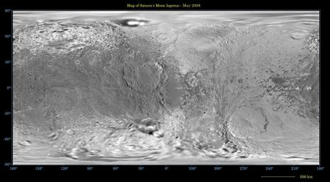 This global map of Saturn's moon Iapetus was created using images taken during NASA's Cassini spacecraft flybys, with Voyager images filling in the gaps in Cassini's coverage.