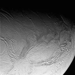 This image was taken during NASA's Cassini spacecraft's extremely close encounter with Saturn's moon Enceladus on Oct. 9, 2008.
