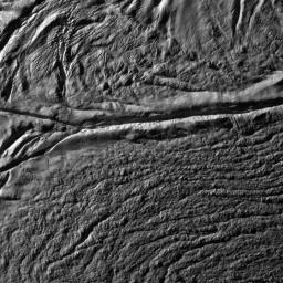 This image from NASA's Cassini spacecraft was the eighth 'skeet shoot' narrow-angle image captured during the October 31, 2008, flyby of Saturn's moon Enceladus.