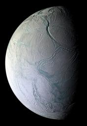 On Oct. 9, 2008, just after coming within 25 kilometers (15.6 miles) of the surface of Enceladus, NASA's Cassini captured this stunning mosaic as the spacecraft sped away from this geologically active moon of Saturn.