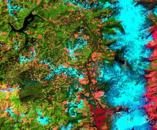 This image was acquired by NASA's Terra spacecraft on May 20, 2000 and shows an area along the west side of the Cascade Range in west central Oregon.