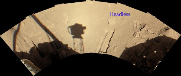 A rock informally named 'Headless,' on the north side of NASA's Phoenix Mars Lander, showing the workspace reachable with the robotic arm.