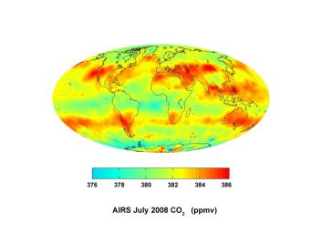 This image was created with data acquired by JPL'a Atmospheric Infrared Sounder during July 2008. The image shows large scale patterns of carbon dioxide concentrations that are transported around the Earth by the general circulation of the atmosphere.