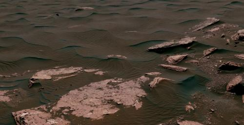 This view from the NASA's Curiosity Mars rover shows two scales of ripples, plus other textures, in an area where the mission examined a linear-shaped dune in the Bagnold dune field on lower Mount Sharp.