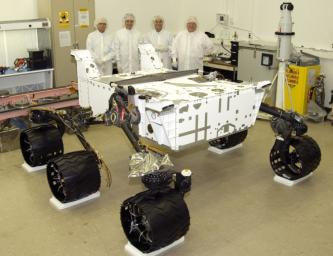 This image taken in August 2008 in a clean room at NASA's JPL, Pasadena, Calif., shows NASA's next Mars rover, the Mars Science Laboratory, in the course of its assembly, before additions of its arm, mast, laboratory instruments and other equipment.