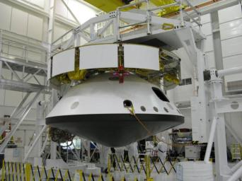 The major components of NASA's Mars Science Laboratory spacecraft -- cruise stage atop the aeroshell, which has the descent stage and rover inside -- were connected together in October 2008 for several weeks of system testing.