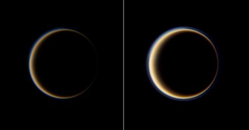 From the dark side of Titan, NASA's Cassini spacecraft profiles the moon's atmosphere as sunlight filters through its upper hazes. Images taken using red, green and blue spectral filters were combined to create this full color view of Titan at high phase.