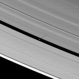 As Saturn's equinox continues to approach, the moon Pan casts a slightly longer shadow on the A ring.