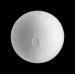 NASA's Cassini spacecraft spies the large Penelope crater on Saturn's moon Tethys.