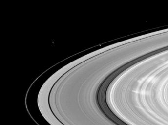 Bright spokes grace Saturn's B ring in this image taken by NASA's Cassini spacecraft.