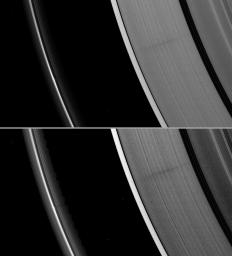 A vertically extended structure or object in Saturn's F ring casts a shadow long enough to reach the A ring in this Cassini image taken just days before planet's August 2009 equinox.