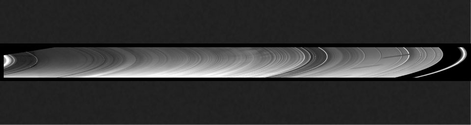 New insights into the nature of Saturn's rings are revealed in this panoramic mosaic of 15 images taken during the planet's August 2009 equinox, taken by NASA's Cassini Orbiter.