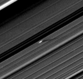 An unusually large propeller feature is detected just beyond the Encke Gap in this Cassini image of Saturn�s outer A ring taken a couple days after the planet�s August 2009 equinox.