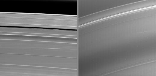 The bright streaks visible in these Cassini images taken during Saturn�s August 2009 equinox are exciting evidence of a constant rain of interplanetary projectiles onto the planet�s rings.