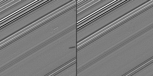 These two images, taken four years before Saturn�s August 2009 equinox by NASA's Cassini spacecraft, indicate the streaks in these images are likely evidence of impacts into the planet�s rings.
