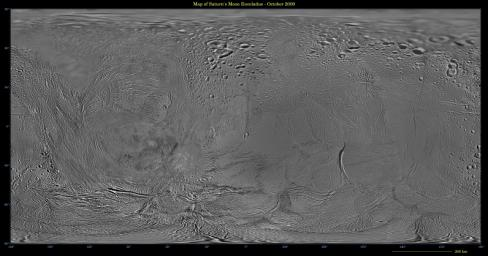 This image shows an updated map of Saturn's icy moon Enceladus, generated by NASA's Cassini imaging team. The map incorporates new images taken in 2008, with better image processing techniques.