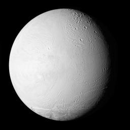 NASA's Cassini spacecraft shows a new view of Saturn's moon Enceladus in a whole-disk mosaic of the geologically active moon's leading, or western, hemisphere.