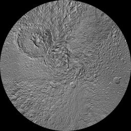 The northern and southern hemispheres of Saturn's moon Tethys are seen in these polar stereographic maps, mosaicked from the best-available images from NASA's Cassini spacecraft.