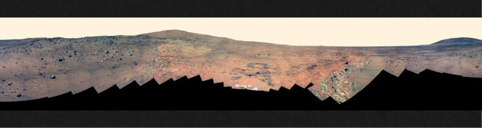 Full-Circle 'Bonestell' Panorama from Spirit (False Color)