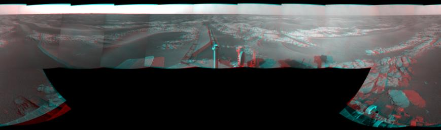 This mosaic of images from NASA's Mars Exploration Rover Opportunity shows surroundings of the rover's location following a 104 meters (341 feet) drive on Jan. 15, 2009. 3D glasses are necessary.