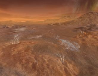 A short but fierce 'gullywasher' rainstorm of methane falls on the mountains surrounding the intriguing flows of Titan's Hotei Arcus in this artist's concept, based upon radar mapping data from NASA's Cassini spacecraft in orbit around Saturn.