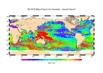 This is the first global map of ocean surface topography produced with data from the new interleaved tandem mission of NASA's Jason-1 and Ocean Surface Topography Mission (OSTM)/Jason-2 satellites.