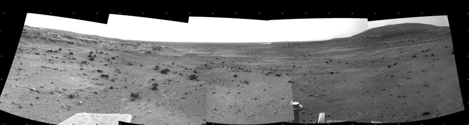 Dust Devil in Spirit's View Ahead on Sol 1854