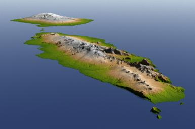 The topography of Savai'i and Upolu, the two large islands of the Independent State of Samoa, is well shown in this color-coded perspective view from NASA's Shuttle Radar Topography Mission.