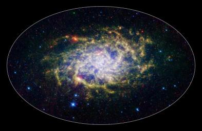 One of our closest galactic neighbors shows its awesome beauty in this new image from NASA's Spitzer Space Telescope. M33, also known as the Triangulum Galaxy, is a member of what's known as our Local Group of galaxies.