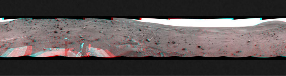 NASA's Mars Exploration Rover Spirit used its navigation camera to take the images that have been combined into this stereo, full-circle view of the rover's surroundings on March 10, 2009. 3D glasses are necessary to view this image.