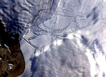 The Wilkins Ice Shelf, as seen by NASA's Terra spacecraft, on the western side of the Antarctic Peninsula, experienced multiple disintegration events in 2008.