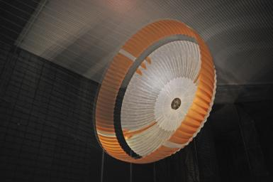 Testing during March and April 2009 inside the world's largest wind tunnel, at NASA Ames Research Center, Moffett Field, Calif., qualified the parachute for NASA's next Mars rover.