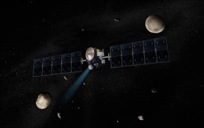 Artist's concept of the Dawn spacecraft with Vesta and Ceres.
