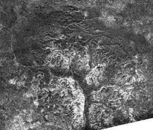 Complex and unique canyon systems appear to have been intricately carved  into older terrain by the ample flow of liquid methane rivers on Saturn's  moon Titan, as seen in this radar image taken by NASA's Cassini spacecraft  on May 21, 2009.
