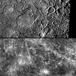 The area on the opposite side of Mercury from the large Caloris impact 