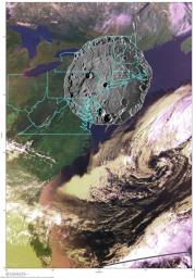 To put the size of Mercury's Rembrandt basin into a familiar context, a NAC mosaic of the basin is overlaid on an AVHRR image of the east coast of the United States