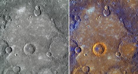 Shown here are color views of the plains near Rudaki crater.