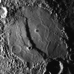 The scarp cutting through this crater was imaged as NASA's MESSENGER approached the planet during the mission's second Mercury flyby.