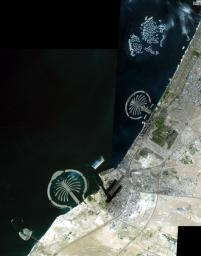 The Palm Islands are artificial islands in Dubai, United Arab emirates on which major commercial and residential structures are being built. NASA's Terra spacecraft acquired this image on November 17 and December 10, 2008.