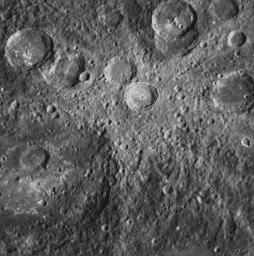 This NAC image from MESSENGER�s second Mercury flyby shows a crater with a set of light-colored rays radiating outward from it. Such rays are formed when an impact excavates material from below the surface and throws it outward from the crater.
