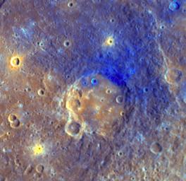 On Mercury, NASA's MESSENGER shows the smooth floor of Titian is a brighter orange color than the surrounding area, likely due to being filled with volcanic material. Ejecta from Titian appears blue.