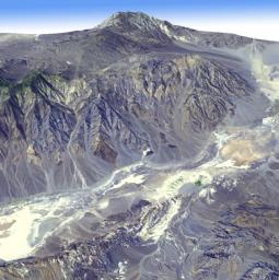 Death Valley, Calif., has the lowest point in North America, Badwater at 85.5 meters (282 feet) below sea level. It is also the driest and hottest location in North America. This image is from NASA' Terra spacecraft.