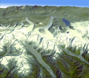 Onboard NASA's Terra spacecraft, the Advanced Spaceborne Thermal Emission and Reflection Radiometer data have revealed significant spatial variability in glacier flow in the Bhutan Himalayas.